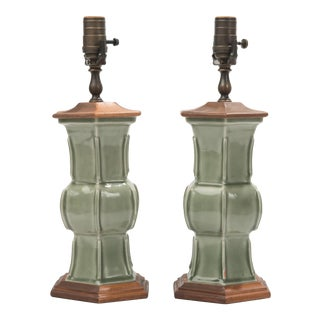 Chinese Celadon Green Table Boudoir Lamps - a Pair For Sale