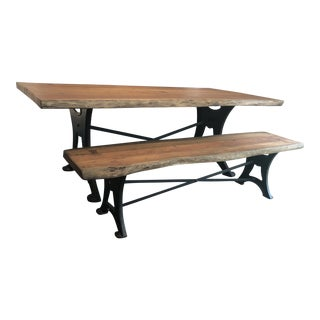 Industrial Live Edge Acacia Wood and Iron Table and Bench - 2 Pieces