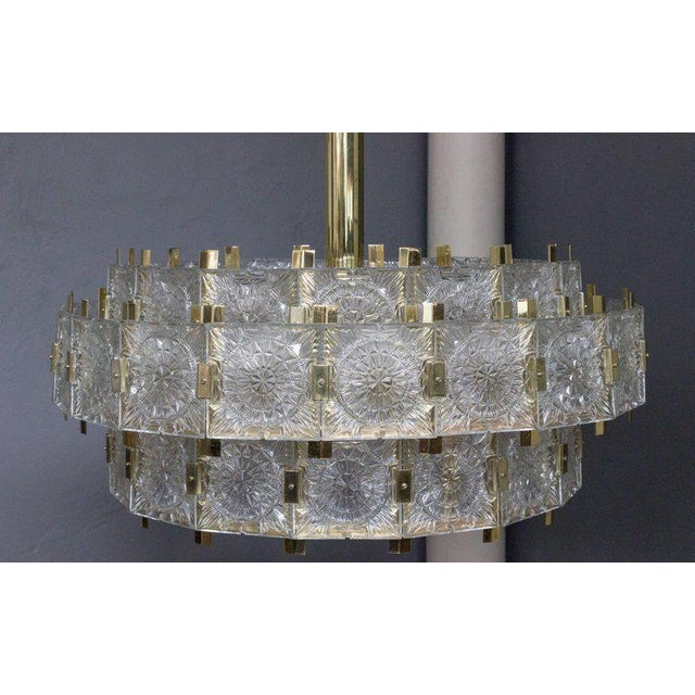 French Mid-Century Modern Brass Chandelier with Glass - Image 3 of 11