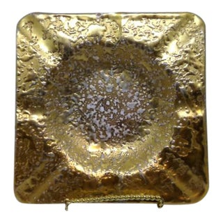 Vintage Mid-Century Modern Weeping Gold Ceramic Ashtray For Sale