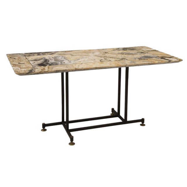 Onyx Coffee Table With Brass Inlay and Iron Base For Sale