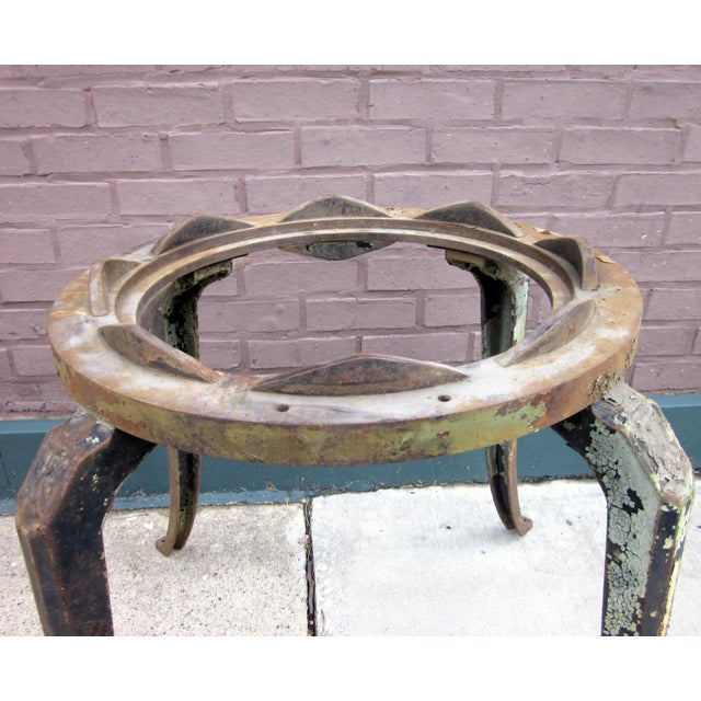 Late 19th Century 19th Century Industrial Machinery Converted Cast Iron Table Base With Glass Top For Sale - Image 5 of 9