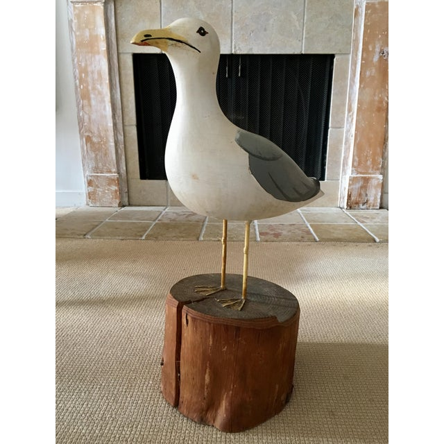 Nautical Wooden Seagull Mounted on Pedestal For Sale - Image 3 of 8