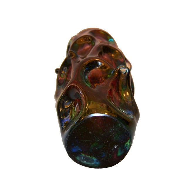 Blue Modern Sculptural Hand Blown Murano Art Glass Flower Vase For Sale - Image 8 of 10