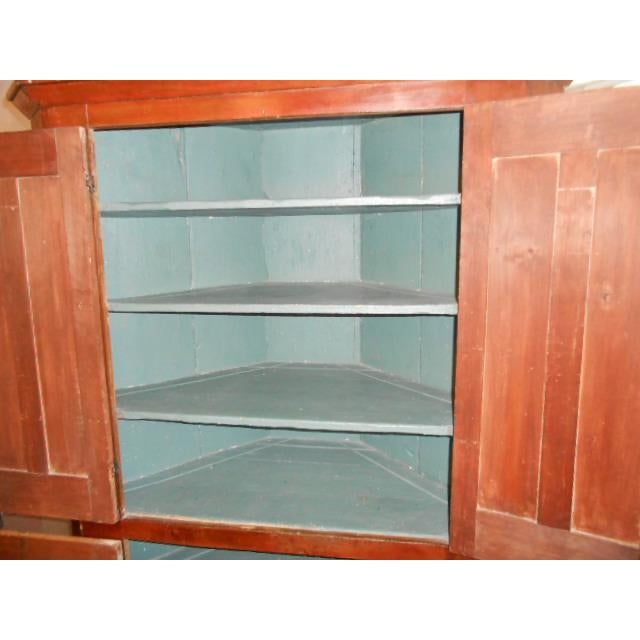 Wood 19th Century Early American Corner Cupboard For Sale - Image 7 of 11
