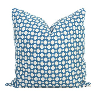 "20"" x 20"" Schumacher Betwixt in Blue Decorative Pillow Cover For Sale"