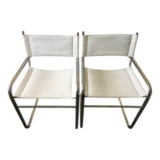 Vintage Chrome and Faux Leather Cantilevered Chairs - a Pair For Sale