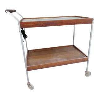 Vintage 1960s Salton Hotray Two Tiered Serving Cart For Sale