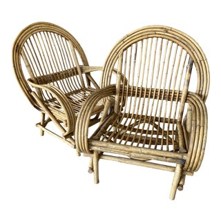 Vintage Coastal Rustic Rattan Chairs-A Pair For Sale