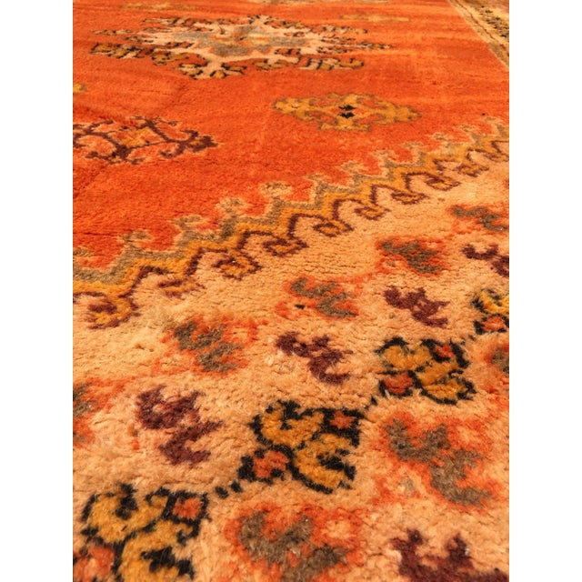 Moroccan vintage orange color tribal African pile rug. Wonderful work of art, oranges geometrical design, free style,...