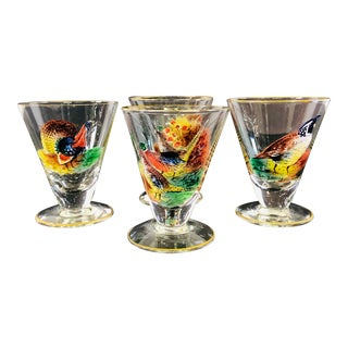1960s Pheasant Bar Footed Cocktail Glasses, Set of 4 For Sale
