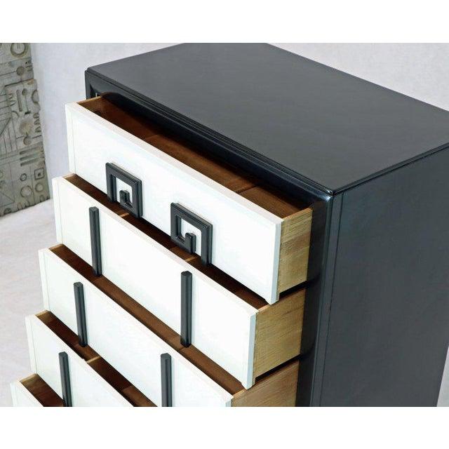 Mid-Century Modern high chest dresser with Greek key motive by Kittinger.