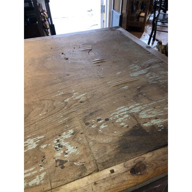 Blue Antique Painted Wood Continental Table With Patina and Two Drawers For Sale - Image 8 of 13