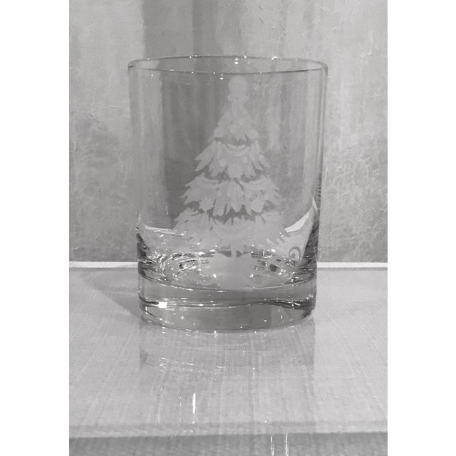 Traditional Vintage Decorated Holiday Tree Glasses Frosted and Etched - Set of 8 For Sale - Image 3 of 5