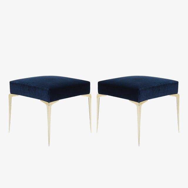 Navy Blue Colette Petite Brass Ottomans in Navy Velvet by Montage, Pair For Sale - Image 8 of 8