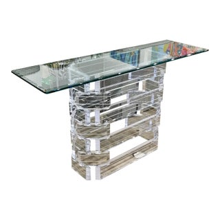 1970s Vintage Stacked Lucite Console Table For Sale