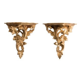 Italian Giltwood Decorative Wall Brackets - a Pair For Sale