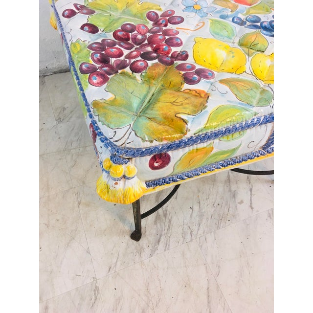Italian Ceramic Garden Seat With Iron Base For Sale - Image 9 of 12