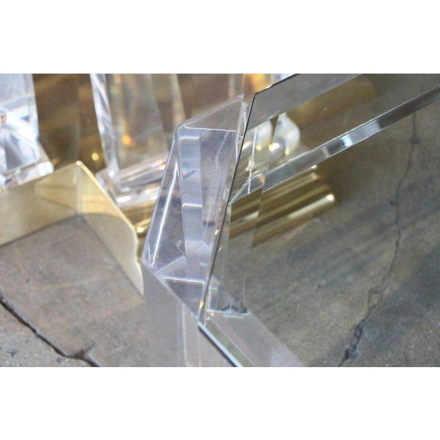 Mid-Century Modern Charles Hollis Jones Model 505 Lucite and Glass Coffee Table For Sale - Image 3 of 7