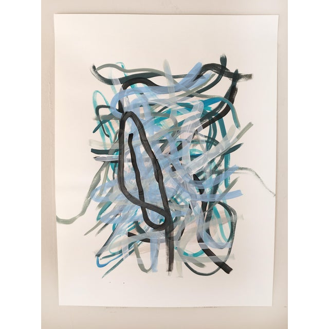 Contemporary Windstorm Original Painting on Paper For Sale - Image 3 of 5