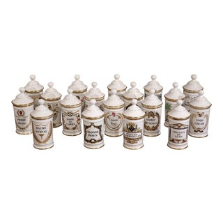 Set of 18 French Mid-20th Century Apothecary or Pharmacy Pots From Limoges For Sale