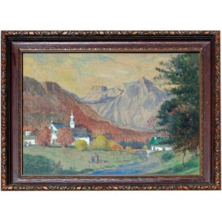 Early 20th Century French Village Watercolor by C. Harry Allis For Sale