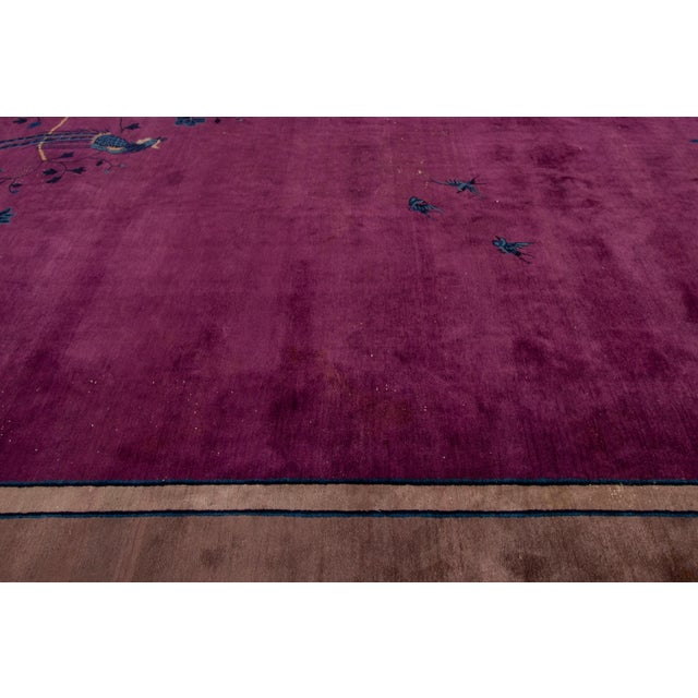 Art Deco Antique Purple Chinese Mandarin Wool Rug 9 Ft 9 in X 16 Ft 3 In. For Sale - Image 3 of 11