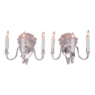 Pair of 20th Century English Sheffield Plate Royal Crown Sconces by LBS & Co