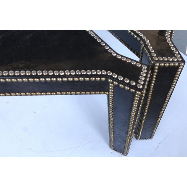 Animal Skin Regency Style Parchment & Studs Triangle Tables - A Pair For Sale - Image 7 of 9