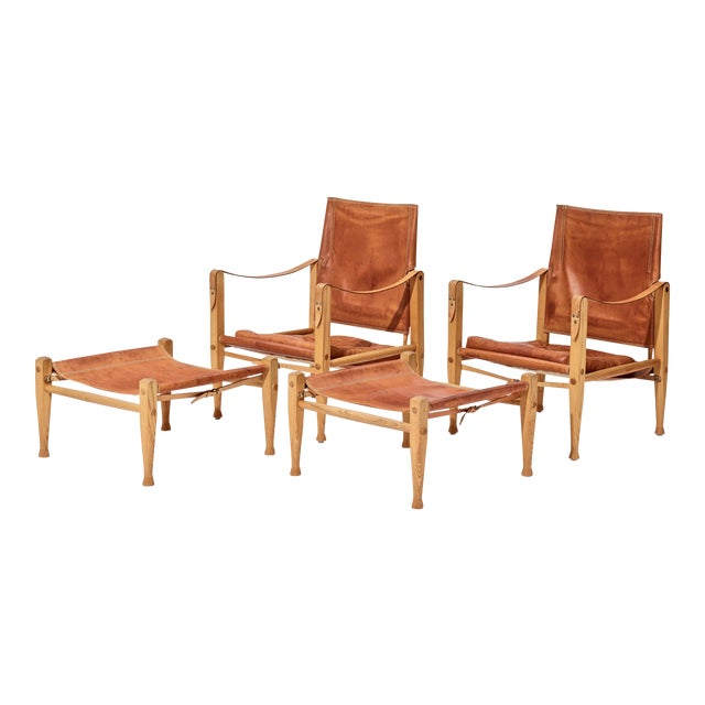 A Pair of Kaare Klint Safari Chairs and Ottomans, Rud Rasmussen, Denmark, 1960s For Sale