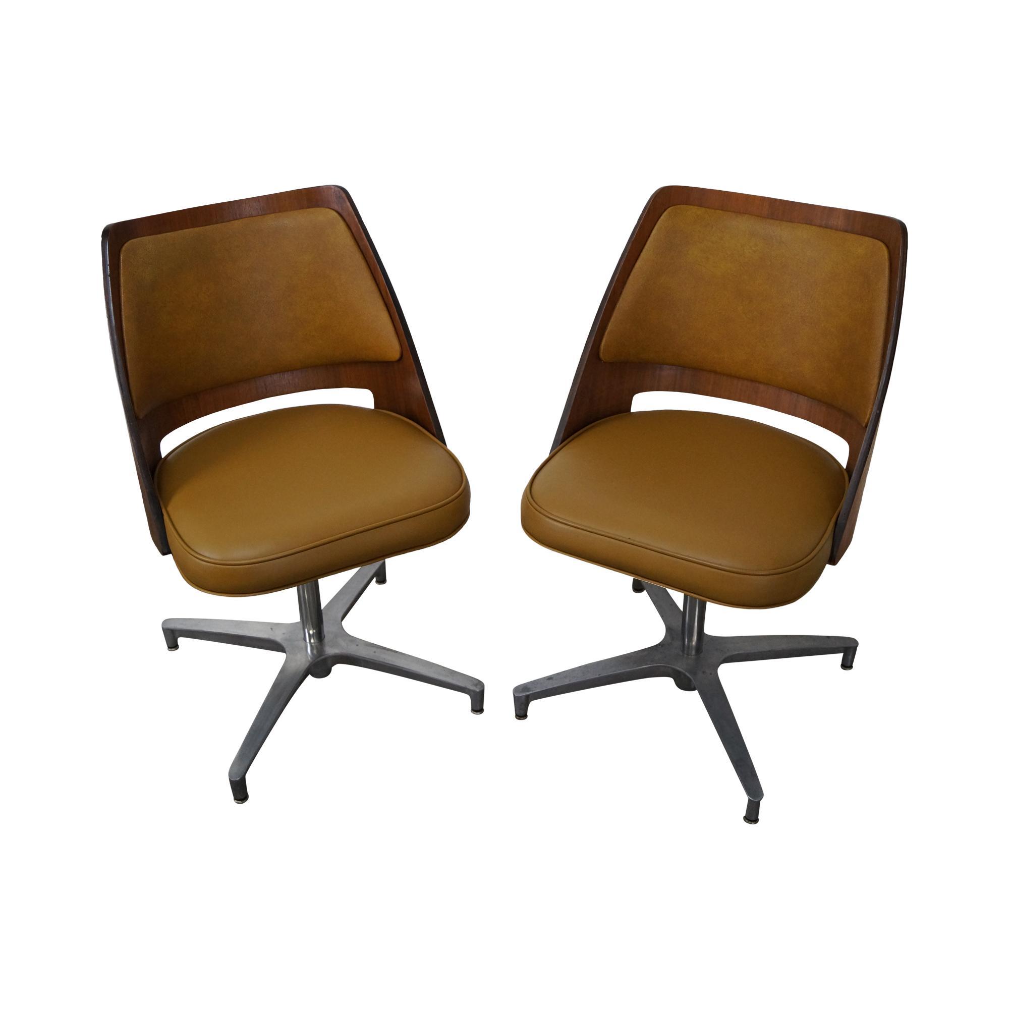 Brody Mid Century Walnut Barrel Back Swivel Chairs   Pair