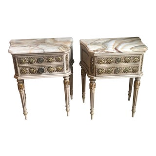 Antique Side Tables With Marble Tops - A Pair For Sale