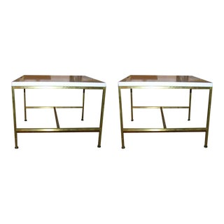 Paul McCobb White Glass Top Occasional Tables - a Pair For Sale