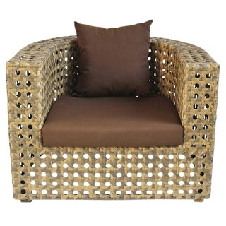 Outdoor Faux Rattan Club Chair For Sale