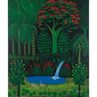 Royal Poinciana With Sandhill Cranes Contemporary Painting For Sale