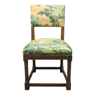 1960s Vintage Upholstered Chair, With Painted Tapestry Scenery. For Sale
