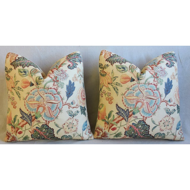 """Travers Tree-Of-Life Linen Feather/Down Pillows 22"""" Square - Pair For Sale In Los Angeles - Image 6 of 13"""