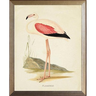 Pink Wing Flamingo in Distressed Metallic Frame 25x31 For Sale