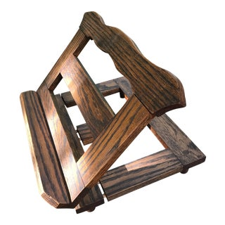 Antique Carved Fruitwood Book Stand Holder With Book