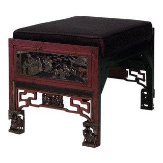 Asian Chinese Red Lacquered Chinoiserie Carved Bench For Sale