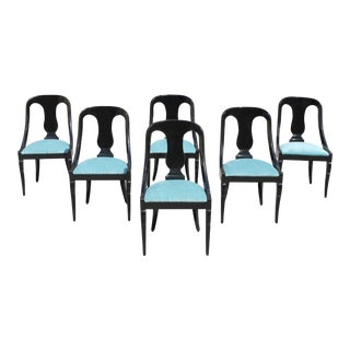 "1940s Vintage French Art Deco ""Gondola"" Dining Chairs- Set of 6 For Sale"