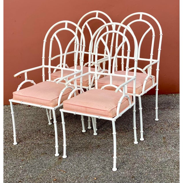 Amazing set of 4 Kessler outdoor dining chairs. Made from a heavy cast aluminum in a high gloss powder coated white. Done...