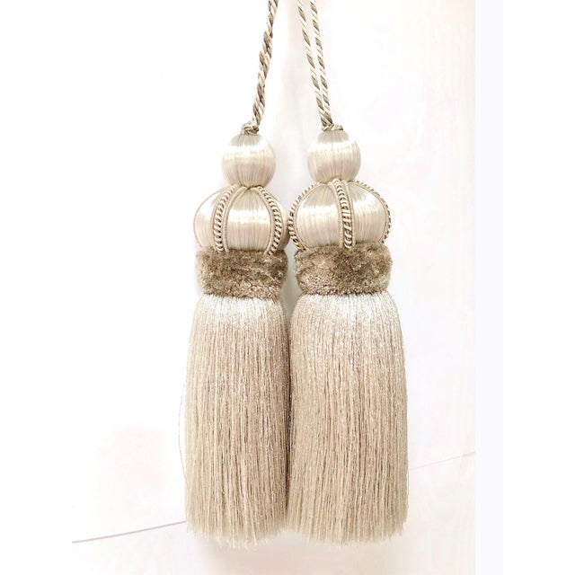 Ivory Key Tassel W Cut Velvet Ruche For Sale - Image 12 of 13