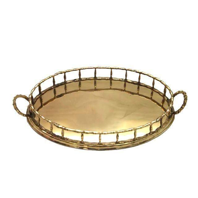 Oval Faux-Bamboo Brass Gallery Tray - Image 1 of 2