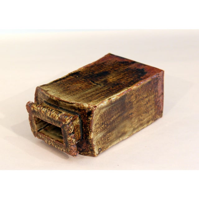 Vintage Studio Pottery Slab Wabi Sabi Rectangular Square Vase Signed Ikebana For Sale - Image 4 of 9