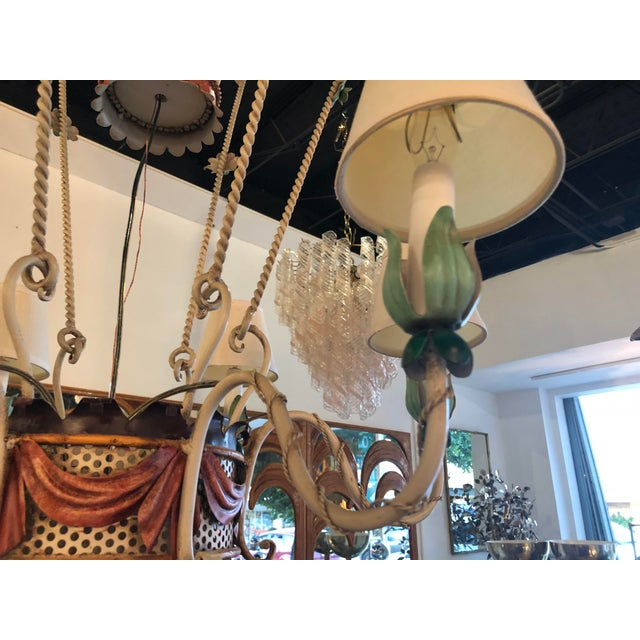 Vintage Italian Tole Metal Hot Air Balloon Chandelier For Sale - Image 11 of 13