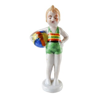 1930's Art Deco Brightly Colored Beach Swimsuit Porcelain Figure For Sale