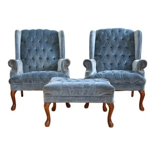 Tufted Navy Blue Velvet Wingback Lounge Chairs with Ottoman - a Pair