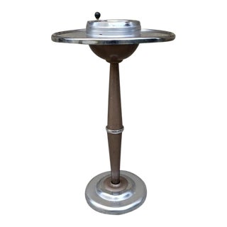 Vintage Metal and Wood Floor Standing Ashtray For Sale