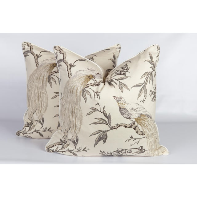 2010s Gray & Ivory Chinoiserie Bird Pillows, a Pair For Sale - Image 5 of 6